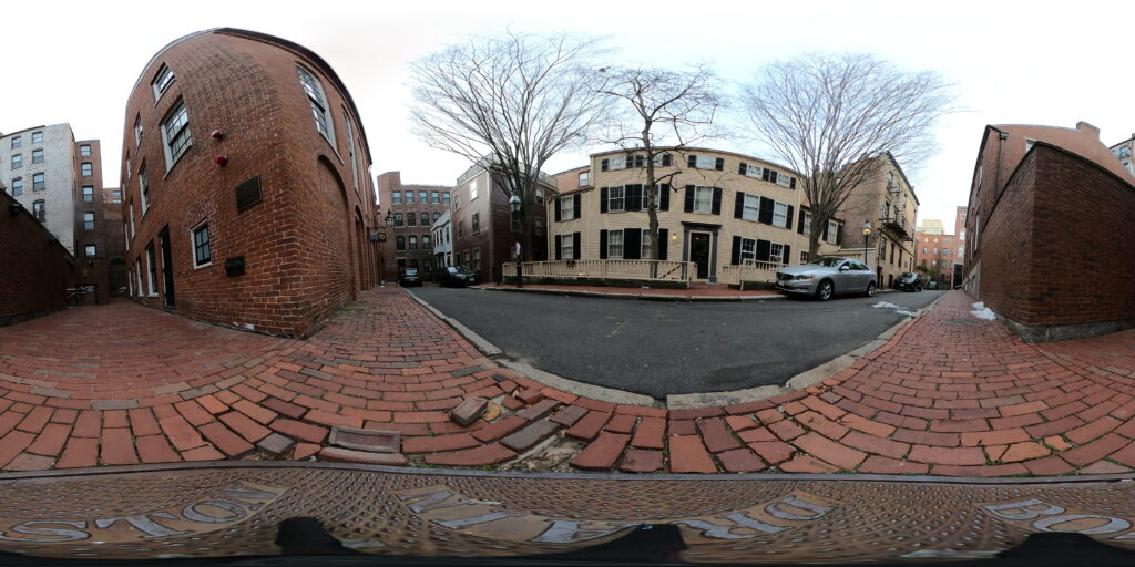 Stitched panorama of Smith Court. William Cooper Nell's House, the African Meeting House, and the Abiel Smith School are visible in this image.