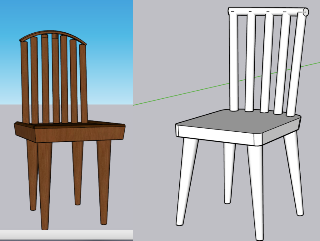 Image showing the first chair I created on SketchUp along side an image of the same chair but touched up after I learned more on SketchUp. Inspired by a Windsor styled chair.