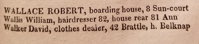 Walker. David, clothes dealer, 42 Brattle, h. Belknap