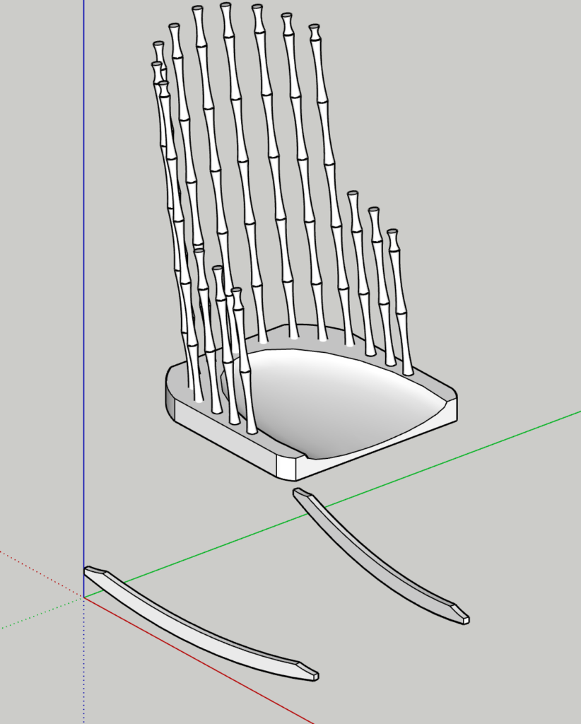 An unfinished model of a Windsor rocking chair on a gray background positioned on the red, green, and blue x, y, and z axes. The model is white and missing legs and arm/back railings.