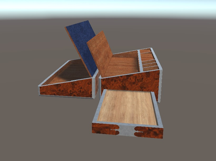 3D textured unity model of an unfolded lap desk with several compartments and writing surfaces, primarily made of wood