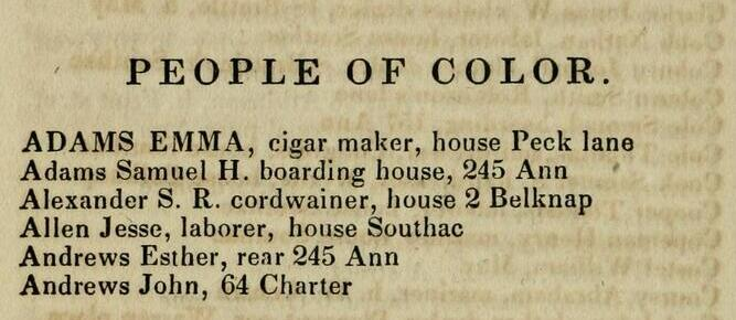 """Example of a """"People of Color"""" directory from Stimpson's Boston Directory for 1835, available on Archive.org via the Library of Congress.  https://archive.org/details/bostondirectory03bost"""