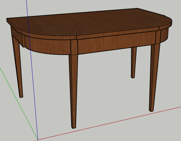3D rendered model of a Federal-style card table. Brown table is rendered at an angle that favors the left-hand side. Tabletop is curved and unfolds.
